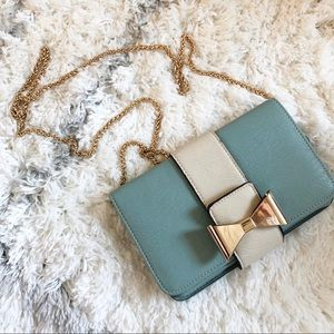 Blue and White Clutch Gold Bow & Chain